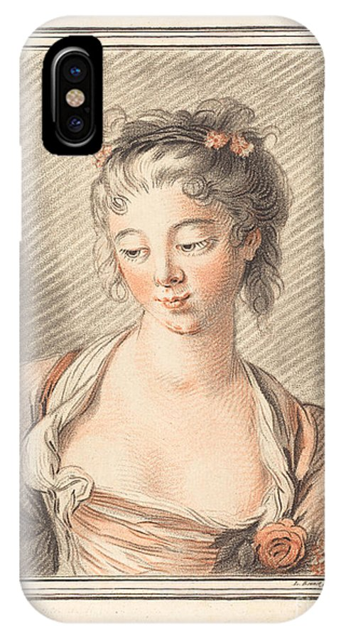 IPhone X Case featuring the drawing Bust Of A Young Woman Looking Down by Louis-marin Bonnet After Fran?ois Boucher