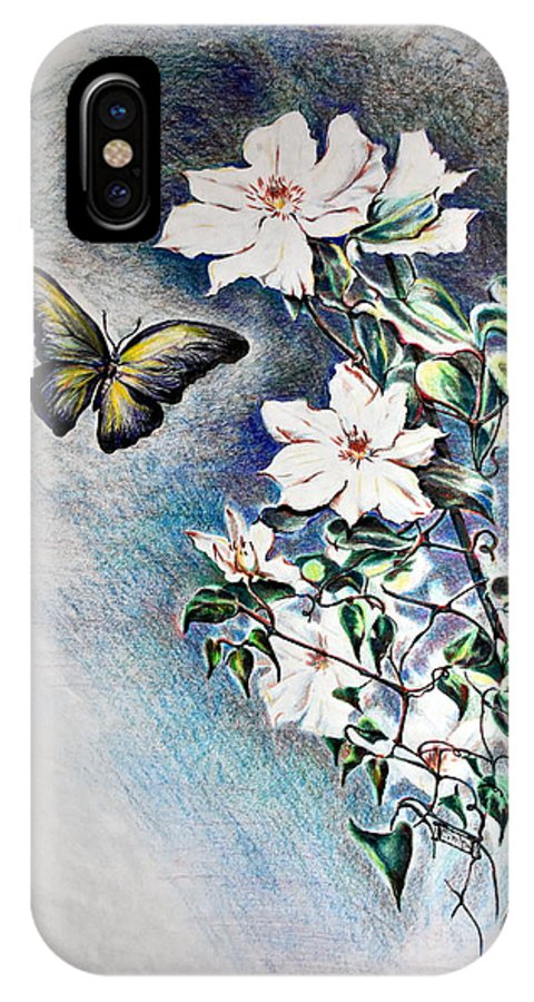 Butterfly IPhone X Case featuring the drawing Butterfly and Clematis Vine by Susan Moore