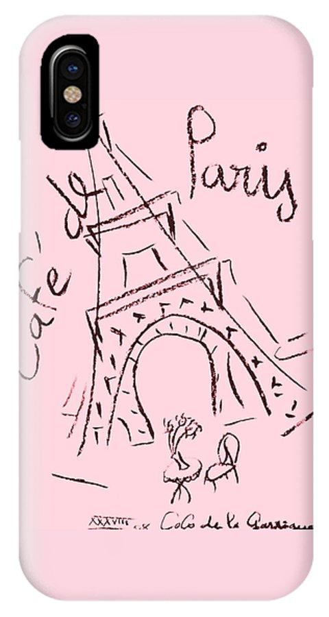 Eiffel Tower. IPhone X Case featuring the digital art Cafe De Paris by Coco de la Garrigue