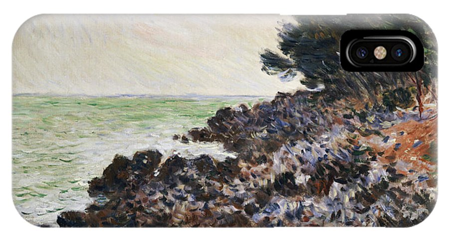 Cap Martin (oil On Canvas) Impressionism; Impressionist; Landscape; Seascape; Tree; Rock; Rocky; Coast; Coastal; Sea; Ocean; French IPhone X Case featuring the painting Cap Martin by Claude Monet