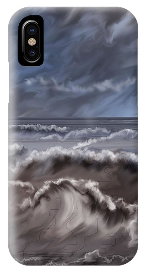 Seascape IPhone X Case featuring the painting Caramel Seas by Anne Norskog