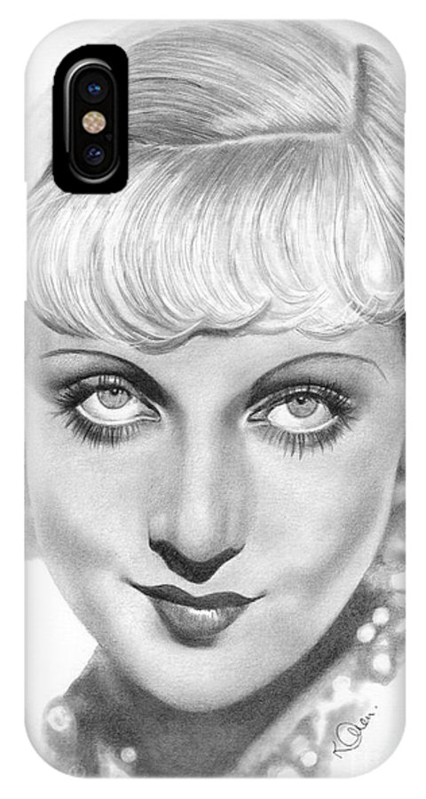 Carole Lombard IPhone X Case featuring the drawing Carole Lombard by Karen Townsend