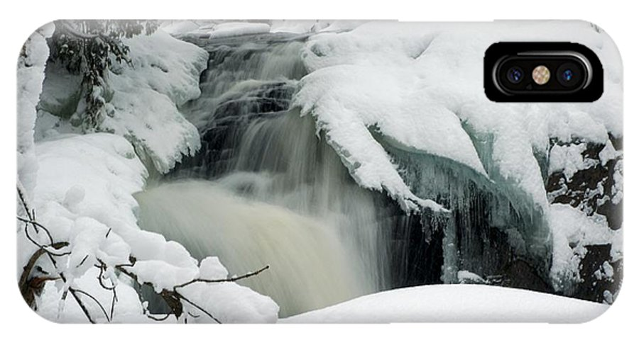 Cattyman Falls IPhone X Case featuring the photograph Cattyman Falls In Winter by Larry Ricker