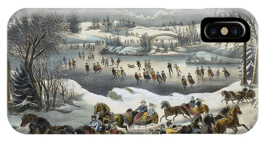 Print IPhone X Case featuring the painting Central Park In Winter by Currier and Ives