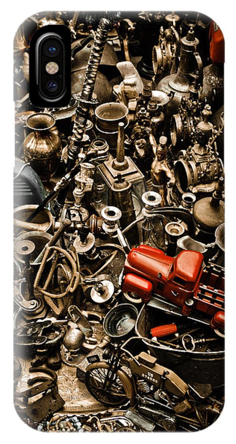 Old; Antique; Vintage; Retro; Background; Style; Art; Decor; Decorating; Decoration; Grunge; Antiquities; Object; Old-fashioned; Classic; Collection; Valuable; Junk; Together; Gathered; Car; Toy; Red; Brown; Chaos; IPhone X Case featuring the photograph Chaos by Gabriela Insuratelu