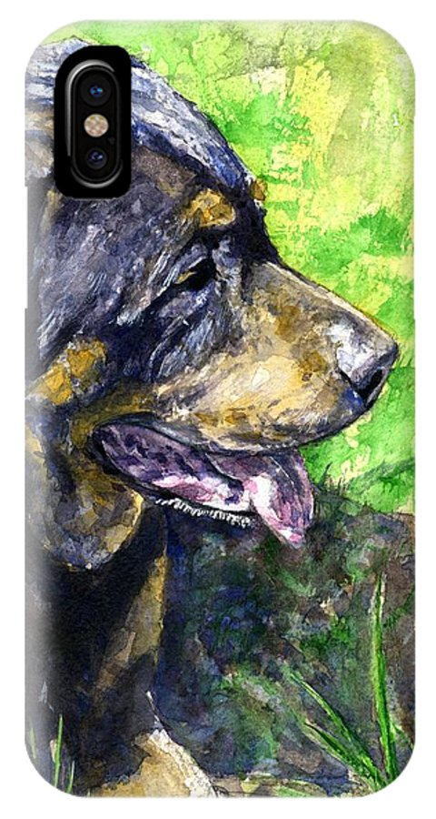 Rottweiler IPhone X Case featuring the painting Chaos by John D Benson