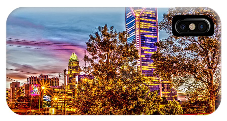 Charlotte IPhone X Case featuring the photograph Charlotte City Skyline Early Morning At Sunrise by Alex Grichenko
