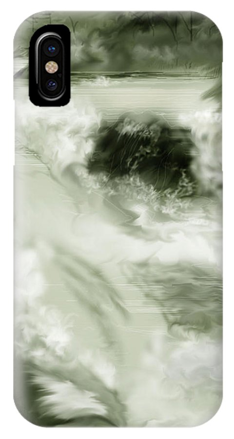 White Water Landscape IPhone X Case featuring the painting Cherry Creek White Water by Anne Norskog