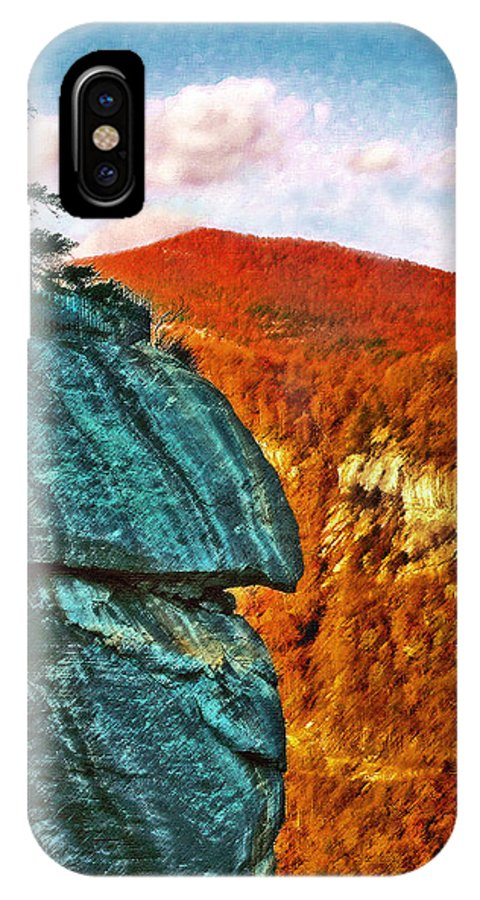 Landscape IPhone X Case featuring the painting Chimney Rock by Steve Karol