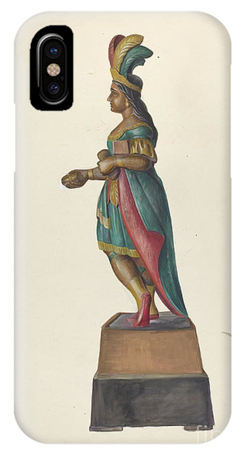 IPhone X Case featuring the drawing Cigar Store Indian by Vincent Mcpharlin