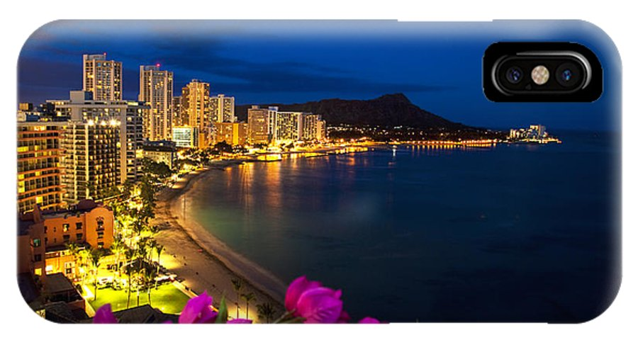 Above IPhone X Case featuring the photograph Classic Waikiki Nightime by Tomas del Amo - Printscapes
