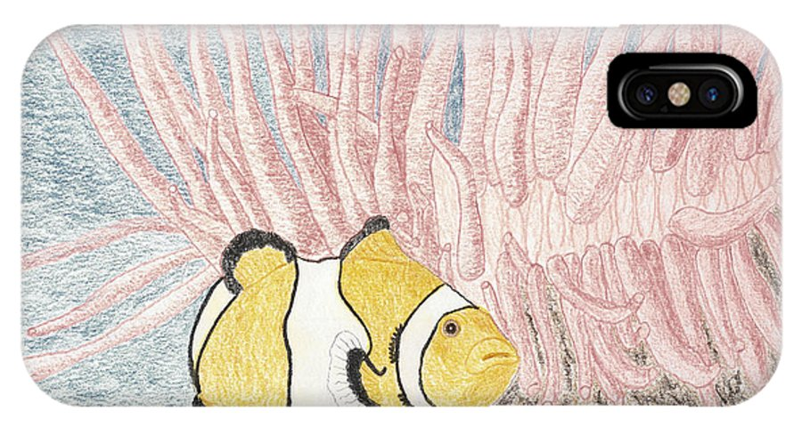 Fish IPhone X Case featuring the drawing Clownfish by Sherri Gill