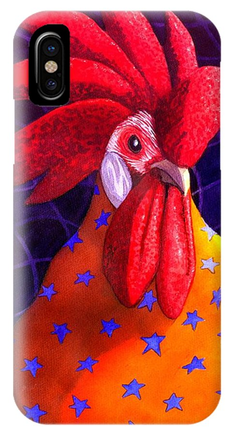 Rooster IPhone X Case featuring the painting Cock A Doodle Dude by Catherine G McElroy