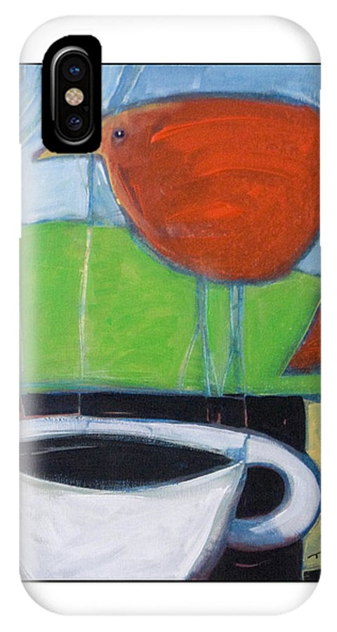 Bird IPhone Case featuring the painting Coffee With Red Bird by Tim Nyberg
