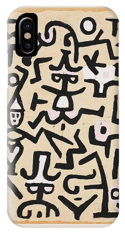 Paul Klee Comedians' Handbill IPhone X Case featuring the painting Comedians' Handbill by Paul Klee