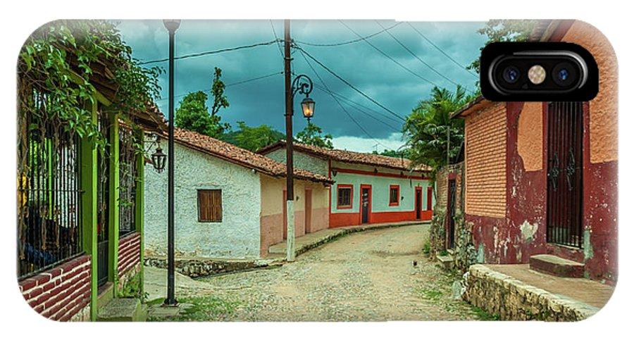 Landscape IPhone X Case featuring the photograph Copala Cobblestone Street by Javier Flores