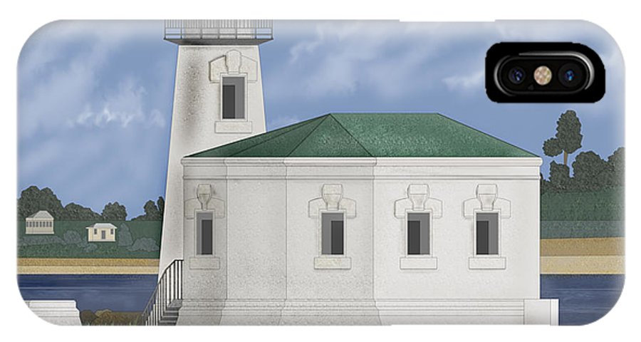 Lighthouse IPhone X Case featuring the painting Coquille River Lighthouse at Bandon Oregon by Anne Norskog