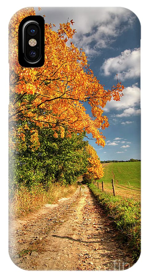 Autumn IPhone X / XS Case featuring the photograph Country Road And Autumn Landscape by Michal Boubin