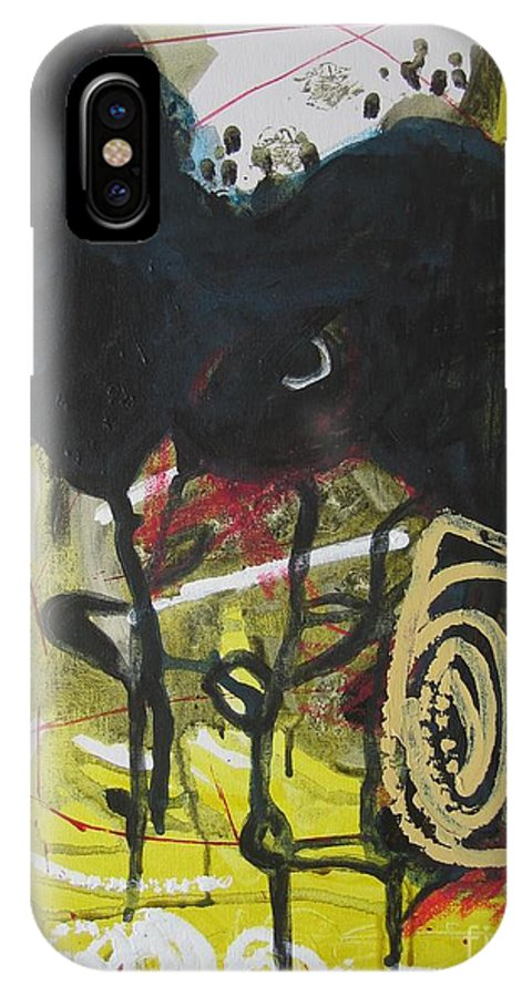 Abstract Paintings IPhone X Case featuring the painting Crescent2 by Seon-Jeong Kim