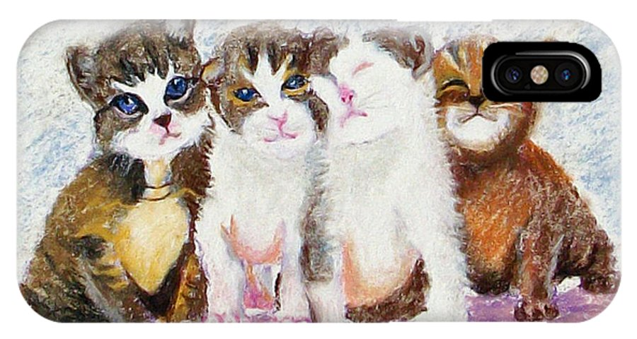 Kittens IPhone X Case featuring the painting Cuddle Kitties by Laurie Paci