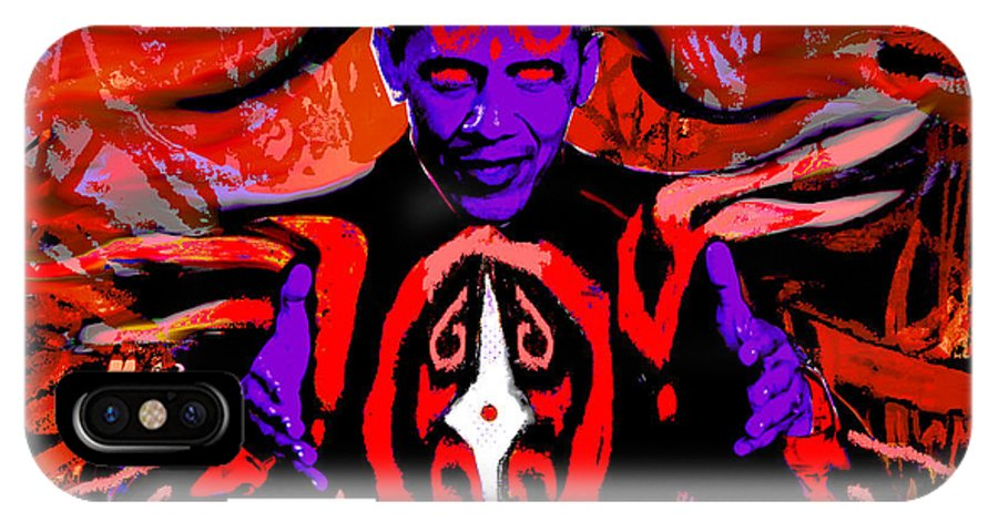 Obama IPhone X Case featuring the digital art Dark Obamatar by Andrew Kaupe