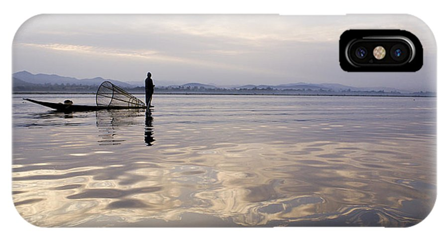 Sunrise IPhone X Case featuring the photograph Dawn On Inle Lake by Michele Burgess