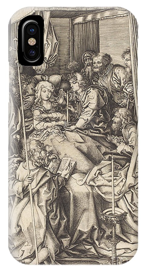 IPhone X Case featuring the drawing Death Of The Virgin by Martin Schongauer