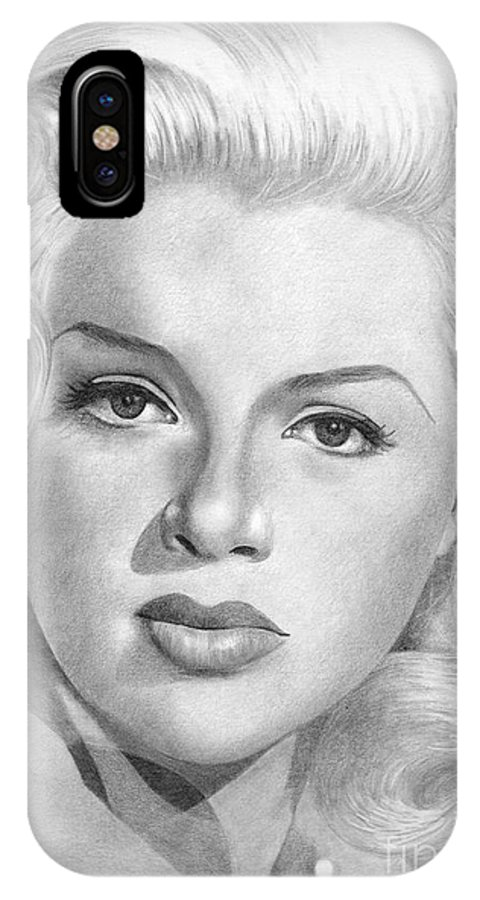 Diana Dors IPhone X Case featuring the drawing Diana Dors by Karen Townsend