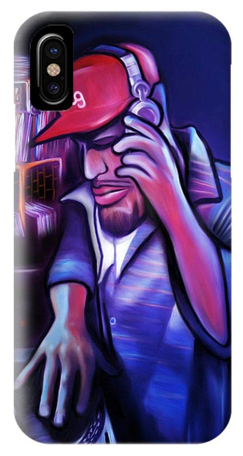 Dj IPhone X Case featuring the digital art DJ by Benjamin Greggory