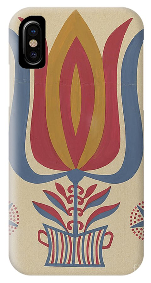 """IPhone X Case featuring the drawing Drawing For Plate 9: From The Portfolio """"folk Art Of Rural Pennsylvania"""" by American 20th Century"""