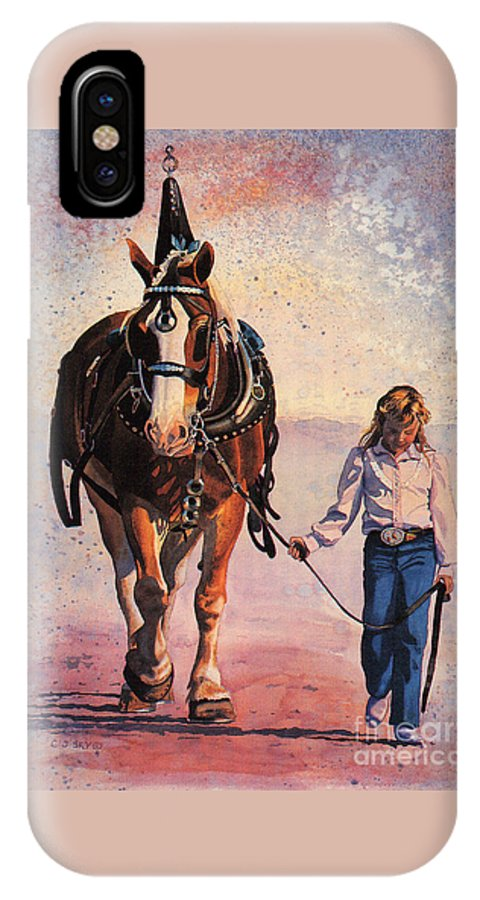 Horse And Girl Portrait IPhone X Case featuring the painting Dreams by Cathy Sky