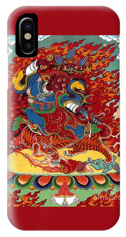 Thangka IPhone X Case featuring the painting Dudjom's Dorje Drollo by Sergey Noskov