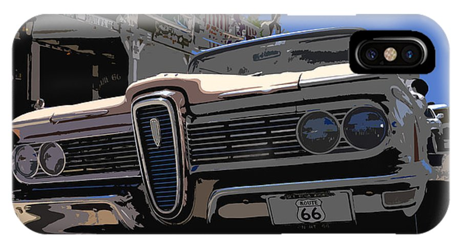 Route 66 IPhone X Case featuring the painting Edsel On Route 66 by David Lee Thompson