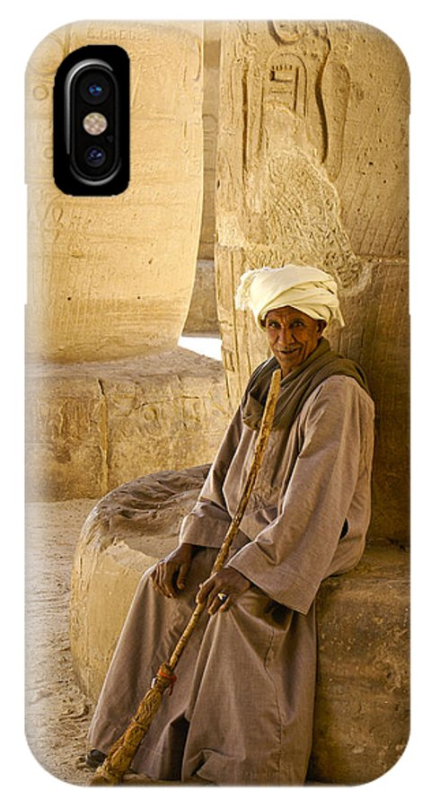 Egypt IPhone X Case featuring the photograph Egyptian Caretaker by Michele Burgess