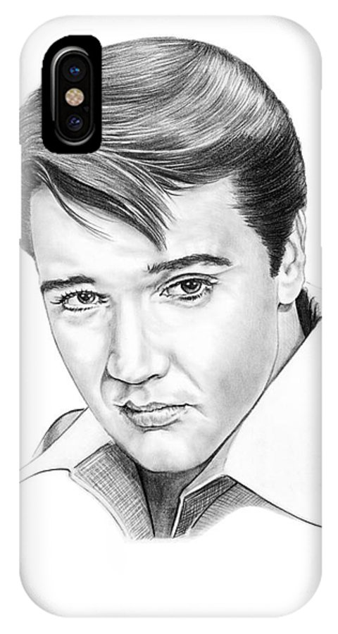 Portrait IPhone Case featuring the drawing Elvis Presley by Murphy Elliott