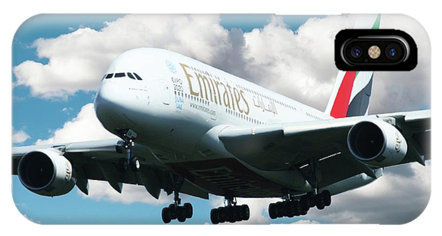Airbus A380 IPhone X Case featuring the digital art Emirates A380 by J Biggadike