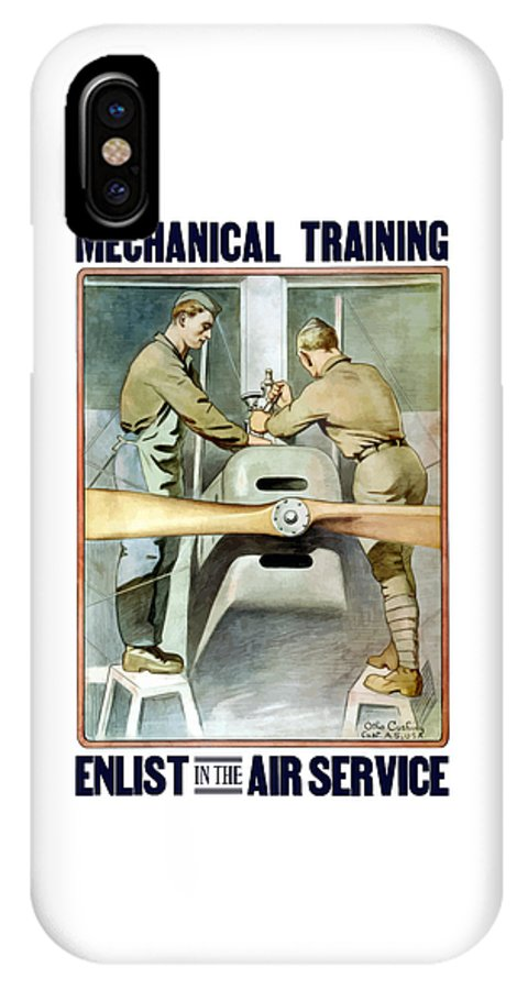 Ww1 IPhone X Case featuring the painting Mechanical Training - Enlist In The Air Service by War Is Hell Store