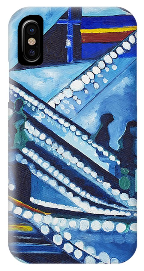Night Scenes IPhone Case featuring the painting Escalator Lights by Patricia Arroyo