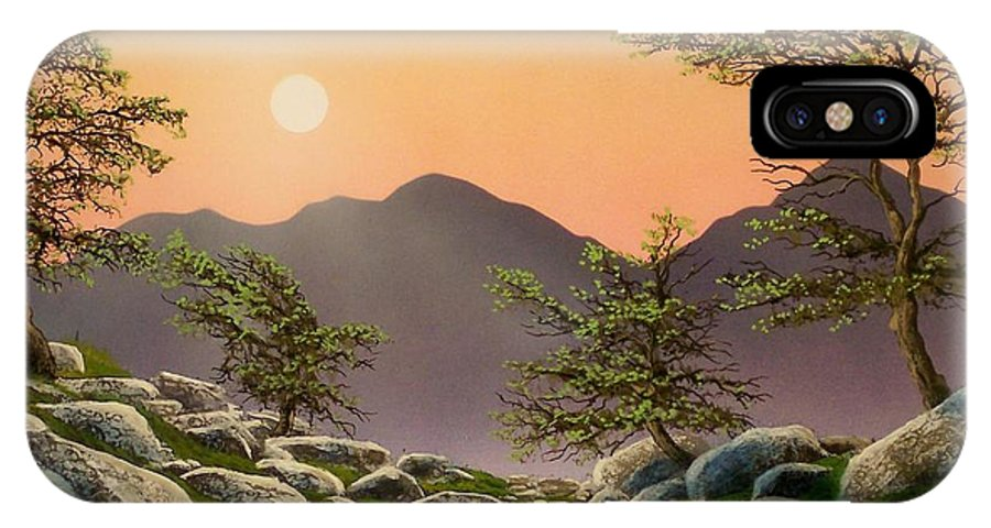 Evening Moonrise IPhone X / XS Case featuring the painting Evening Moonrise by Frank Wilson