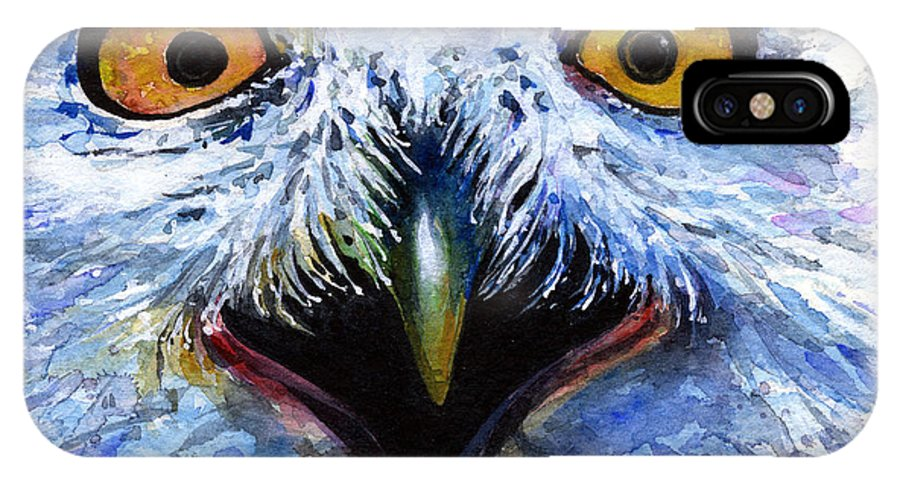 Eye IPhone X Case featuring the painting Eyes Of Owls No. 15 by John D Benson