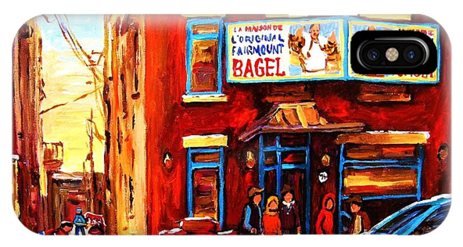 Hockey IPhone X Case featuring the painting Fairmount Bagel in Winter by Carole Spandau