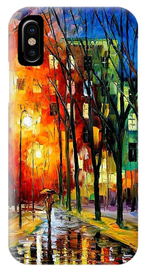 Afremov IPhone X Case featuring the painting Farewell To Autumn by Leonid Afremov