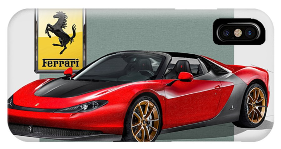 �ferrari� Collection By Serge Averbukh IPhone X Case featuring the photograph Ferrari Sergio With 3d Badge by Serge Averbukh