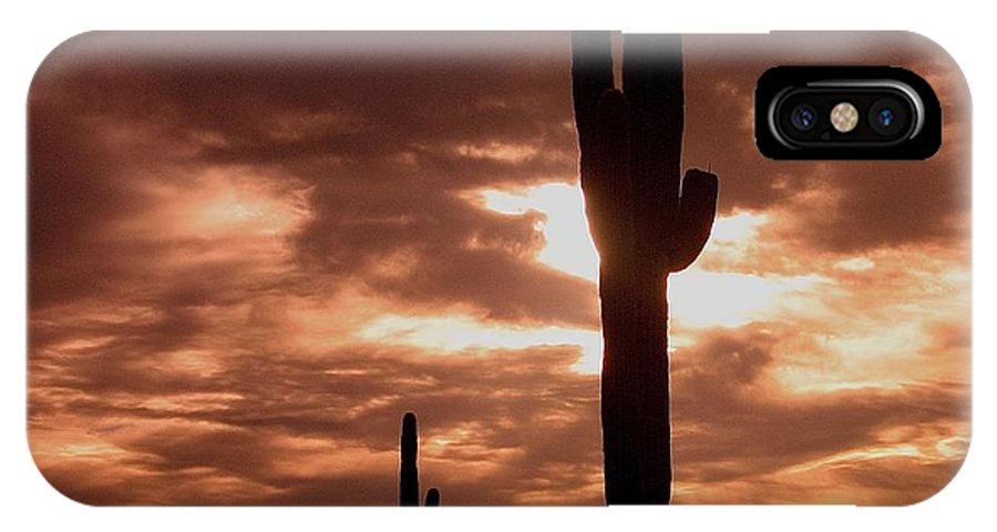 Film Homage Orson Welles Saguaro Cacti The Other Side Of The Wind Carefree Arizona 2004 IPhone X Case featuring the photograph Film Homage Orson Welles Saguaro Cacti The Other Side Of The Wind Carefree Arizona 2004 by David Lee Guss