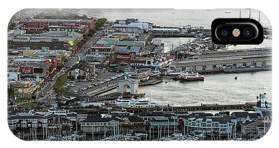 Fisherman's Wharf IPhone X Case featuring the photograph Fisherman's Wharf And Pier 39 Aerial Photo by David Oppenheimer