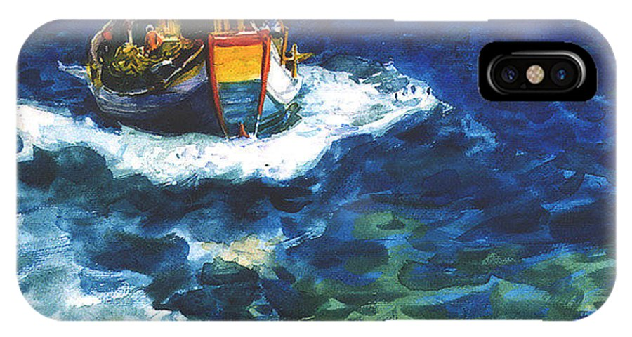 Fishing IPhone X Case featuring the painting Fishing Boat by Guanyu Shi