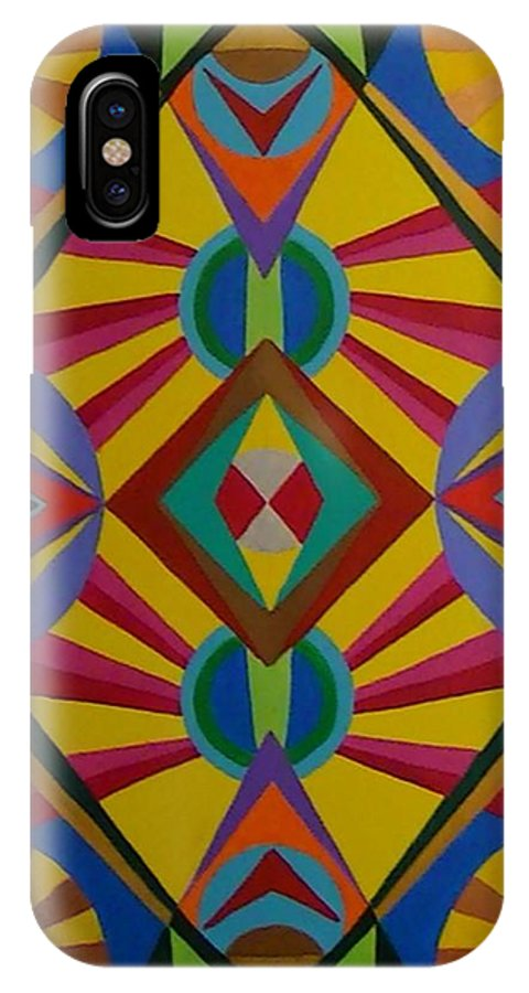 Geometric Abstract IPhone X Case featuring the painting Flash Bang by Dennis Rugtvedt