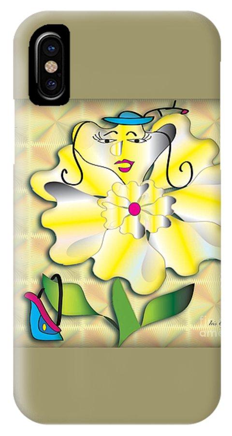 Flower IPhone X Case featuring the digital art Flora 2 by Iris Gelbart