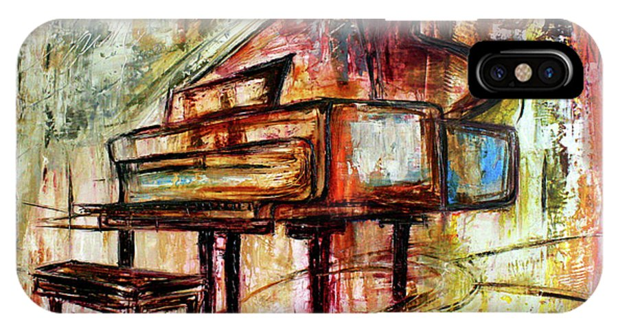 Music IPhone X Case featuring the mixed media Flowing Notes by Ivan Guaderrama