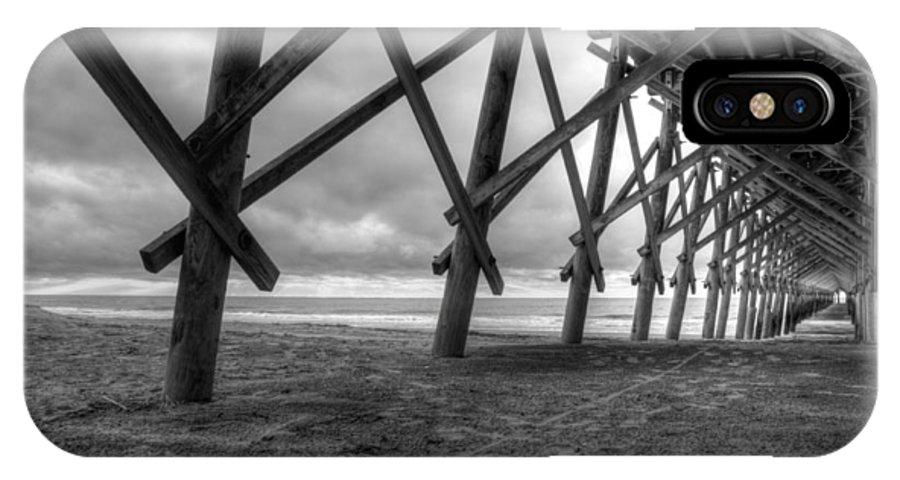 Folly Beach IPhone X Case featuring the photograph Folly Beach Pier Black And White by Dustin K Ryan